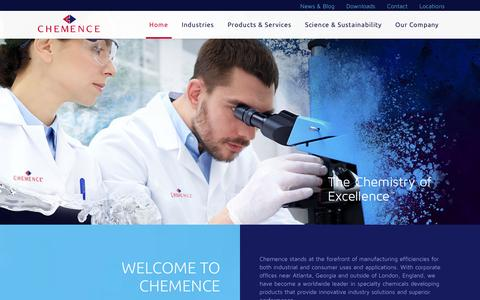 Screenshot of Home Page chemence.com - Chemence - captured Jan. 27, 2016