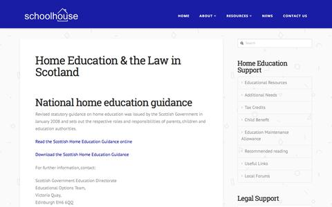 Screenshot of Terms Page schoolhouse.org.uk - Home Education & the Law in Scotland   Schoolhouse - captured July 6, 2017