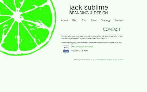 Screenshot of Contact Page jacksublime.com - Jack Sublime | Contact Us - Estimates and More Information - captured Oct. 6, 2014