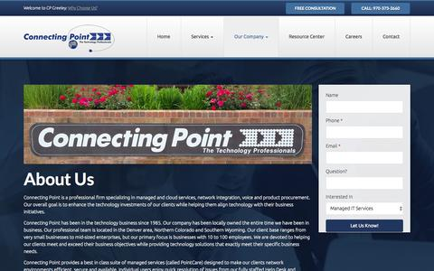 Screenshot of About Page cpgreeley.com - About Us | Connecting Point - captured Nov. 2, 2014