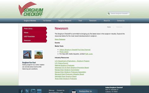 Screenshot of Press Page sorghumcheckoff.com - Newsroom - Sorghum Checkoff - captured Oct. 7, 2014