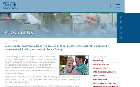 Screenshot of About Page bcfr.org - About Us   Boone County Family ResourcesBoone County Family Resources   We help people with developmental disabilities thrive, connect, and achive - captured Nov. 23, 2016