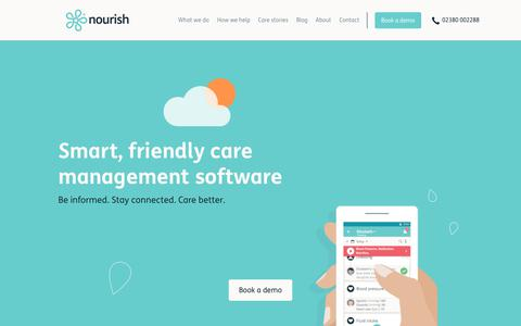 Screenshot of Home Page nourishcare.co.uk - Nourish   Care Management Software for Electronic Care Records - captured Feb. 10, 2018