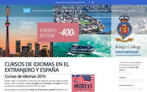 Screenshot of Home Page kingsinternational.es - CURSOS de INGLES en el EXTRANJERO, CURSOS DE IDIOMAS en el EXTRANJERO, CAMPAMENTOS INGLES - captured June 4, 2016