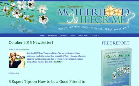 Screenshot of Blog motherhoodisitforme.com - Blog - Motherhood-is it for me? - captured Feb. 6, 2016