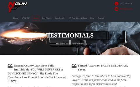 Screenshot of Testimonials Page nygun.com - Testimonials - NY Gun: Law Offices of John S. Chambers - captured Jan. 21, 2016