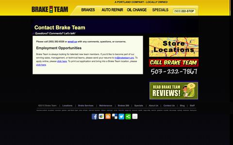 Screenshot of Contact Page braketeam.pro - Brake Team | Auto Repair Service | Contact Us | Portland, Oregon (OR) - captured Sept. 30, 2014
