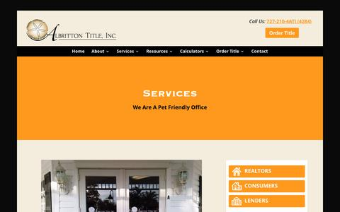 Screenshot of Services Page albrittontitle.com - Services - Palm Harbor, FL Title Company | Albritton Title, Inc. - captured Oct. 7, 2017
