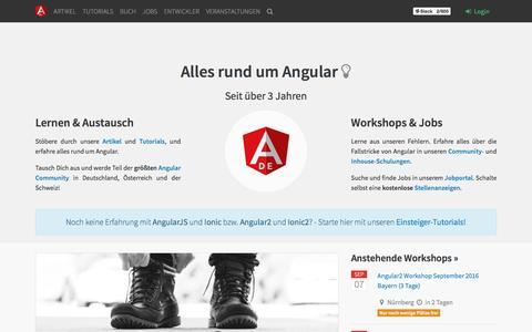 Screenshot of Home Page angularjs.de - AngularJS.DE → Startseite - captured Sept. 4, 2016