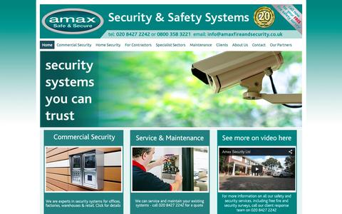Screenshot of Home Page amaxfireandsecurity.co.uk - Amax Fire and Security - captured Oct. 1, 2014