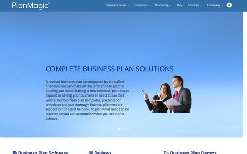 Screenshot of Home Page planmagic.com - Business Plan Software - captured Dec. 9, 2015