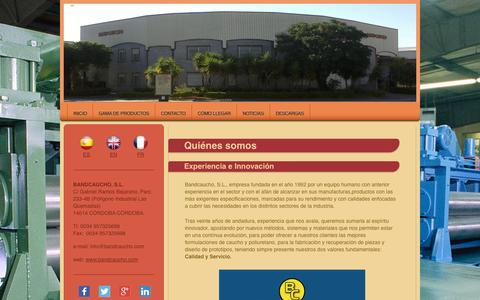 Screenshot of Home Page bandcaucho.com - Bandcaucho: caucho, engomado, ebonitado, poliuretao, rodillo, elastómero - captured Oct. 5, 2014