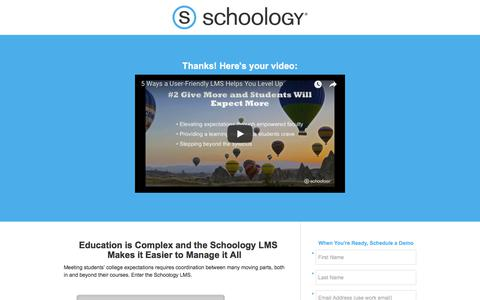 Screenshot of Landing Page schoology.com - 5 Surprising Benefits of Great EdTech Paired With Smart Strategy Thank You - captured Jan. 23, 2018