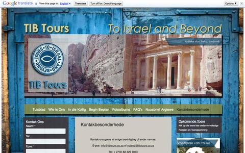 Screenshot of Contact Page tibtours.co.za - Kontakbesonderhede | TIB Tours - captured Oct. 7, 2014