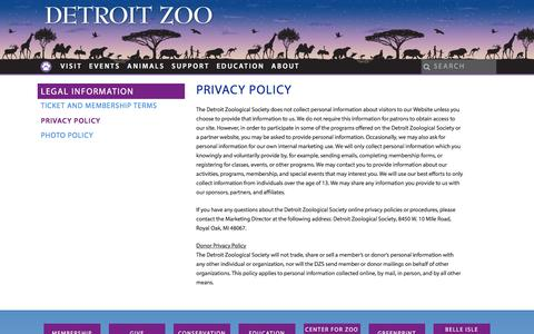 Screenshot of Privacy Page detroitzoo.org - Privacy Policy - Detroit Zoo - captured June 27, 2017