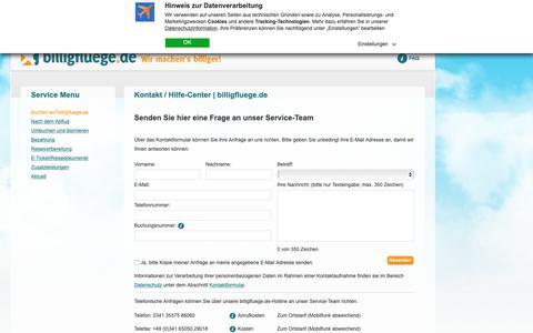 Screenshot of Press Page billigfluege.de - Kontakt / Hilfe-Center | billigfluege.de - captured Oct. 5, 2018