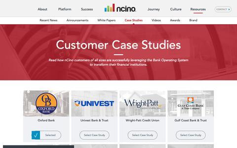 Screenshot of Case Studies Page ncino.com - Customer Case Studies - captured Dec. 4, 2018