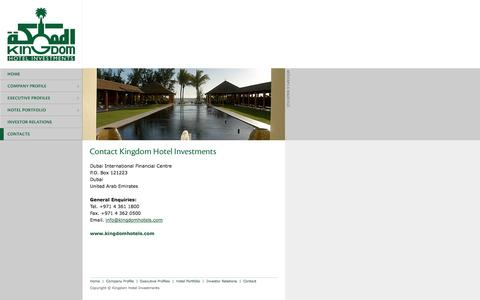 Screenshot of Contact Page kingdomhotels.com - Kingdom Hotel Investments . Contact Details - captured Oct. 1, 2014