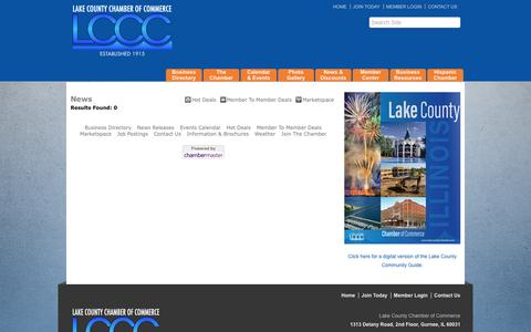 Screenshot of Press Page lakecountychamber.com - News - Lake County Chamber of Commerce - IL, IL - captured Oct. 18, 2016