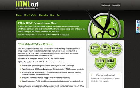 Screenshot of About Page htmlcut.com - What makes HTMLcut different in PSD-to-HTML/CSS slicing market - captured July 10, 2016