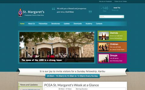Screenshot of Home Page pceastmargarets.org - PCEA St Margarets Church, Mombasa - Home - captured Oct. 1, 2014