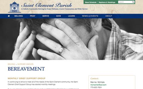 Screenshot of clement.org - Bereavement | Saint Clement Parish - captured March 20, 2016