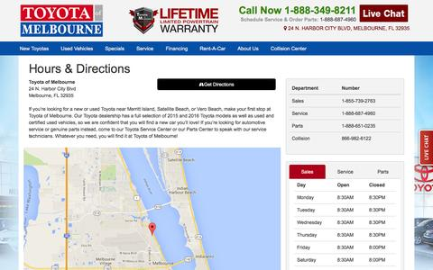Screenshot of Hours Page toyotaofmelbourne.com - Hours & Directions | Toyota of Melbourne | Melbourne, FL - captured Feb. 25, 2016