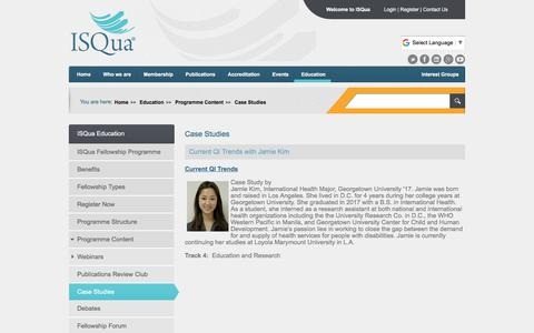 Screenshot of Case Studies Page isqua.org - Case Studies - captured July 27, 2018