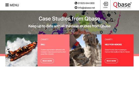Screenshot of Case Studies Page qbase.net - Case Studies - Qbase - captured Nov. 2, 2016