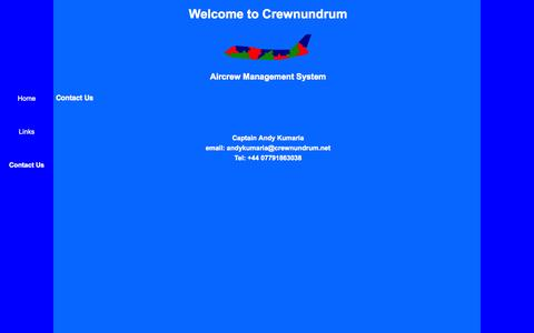 Screenshot of Contact Page crewnundrum.net - Crewnundrum - Aircrew Management System - captured Oct. 3, 2014