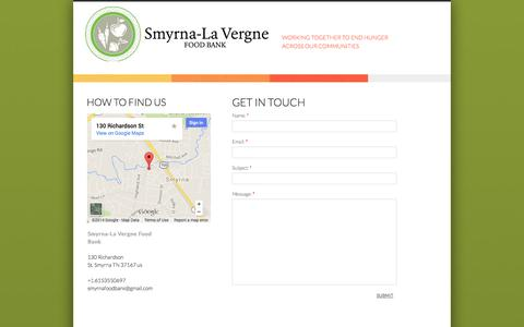Screenshot of Privacy Page Contact Page smyrnalavergnefoodbank.org - Contact Us - captured Oct. 26, 2014
