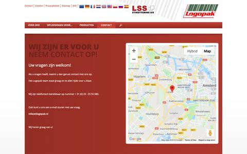 Screenshot of Contact Page logopak.nl - Logopak: specialist inzake etiketteersystemen - captured Sept. 29, 2018