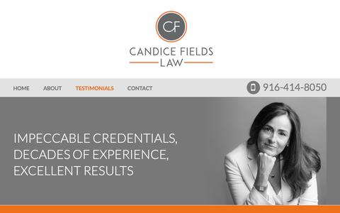 Screenshot of Testimonials Page candicefieldslaw.com - Testimonials | Candice L. Fields | Sacramento, California - captured May 13, 2017