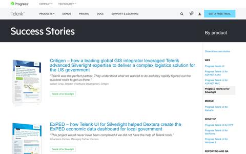 Screenshot of Testimonials Page telerik.com - Telerik UI for Silverlight >> Telerik Success Stories - captured Jan. 20, 2018