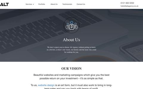 Screenshot of About Page altagency.co.uk - About Us | ALT Agency - captured Oct. 23, 2017