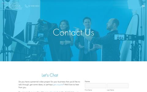 Screenshot of Contact Page lightscamerabusiness.com.au - Contact–LCB Video Production Sydney — Lights Camera Business – Corporate Video Production Sydney - captured May 19, 2017