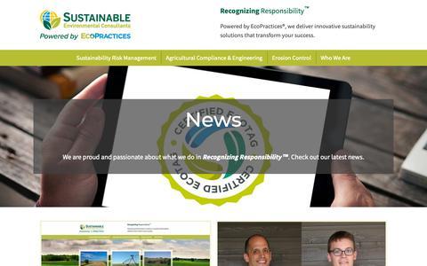Screenshot of Press Page sustainableenviro.com - News - Sustainable Environmental Consultants - captured Nov. 16, 2018