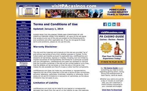 Screenshot of Terms Page visitpacasinos.com - Terms Of Use - visitPAcasinos.com, PA Casinos, Pennsylvania Casinos - captured Aug. 23, 2016