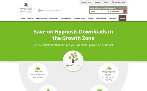 Screenshot of Signup Page hypnosisdownloads.com - Join the Growth Zone | Self Hypnosis Downloads - captured May 22, 2017