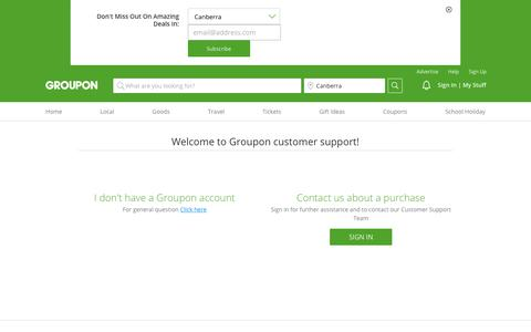 Screenshot of Contact Page Support Page groupon.com.au - Contact Us - captured Sept. 21, 2018