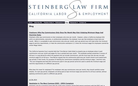 Screenshot of Blog cal-labor.com - Blog | Steinberg Law Firm (310) 302-9100 - captured Oct. 6, 2014