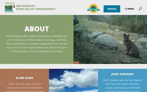 Screenshot of About Page sdrvc.org - Non-Profit Conservancy for River Valley | San Diego, CA - captured Oct. 2, 2018