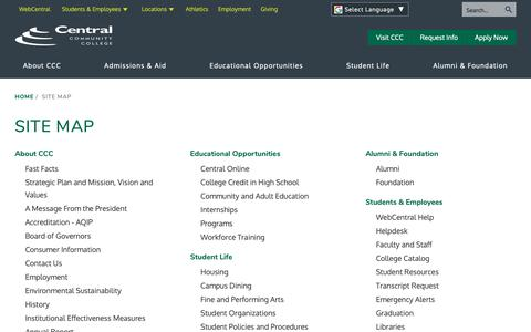 Screenshot of Site Map Page cccneb.edu - Site Map | Central Community College - captured Sept. 27, 2018