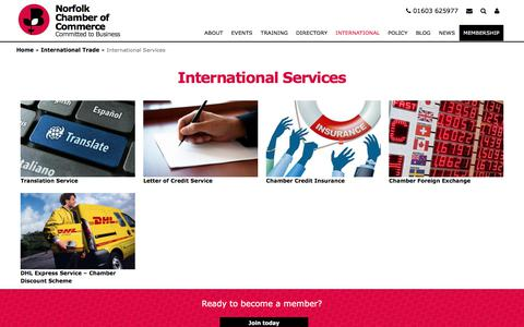 Screenshot of Services Page norfolkchamber.co.uk - International Services | Norfolk Chamber of Commerce - captured July 24, 2017