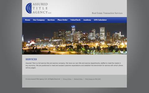 Screenshot of Services Page assuredtitleagency.com - Assured Title Agency, LLC – Services - captured Oct. 4, 2014