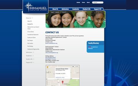 Screenshot of Contact Page icsva.org - Contact Us - Immanuel Christian School Immanuel Christian School - captured Oct. 6, 2014
