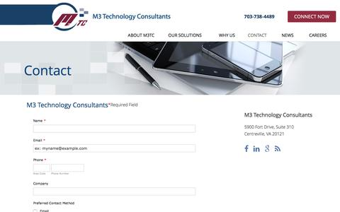 Screenshot of Contact Page m3tc.com - Contact | M3 Technology Consultants - captured Dec. 9, 2015
