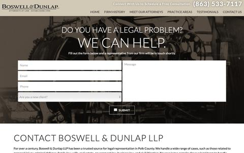 Screenshot of Contact Page bosdun.com - Contact Us | Boswell & Dunlap LLP - captured Oct. 6, 2018