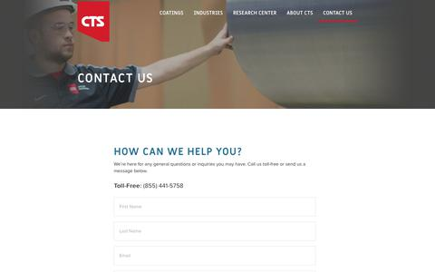 Screenshot of Contact Page cts-inc.net - Contact Us | CTS – Cincinnati Thermal Spray | CTS - captured March 20, 2018
