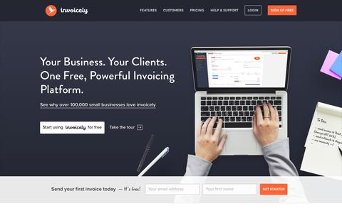 Screenshot of Home Page invoicely.com - Free Online Invoicing for Small Businesses - invoicely - captured Nov. 26, 2016